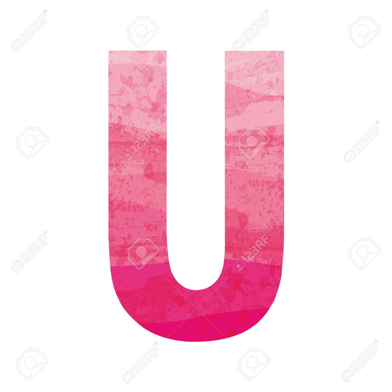 Pink Alphabet U Stock Vector