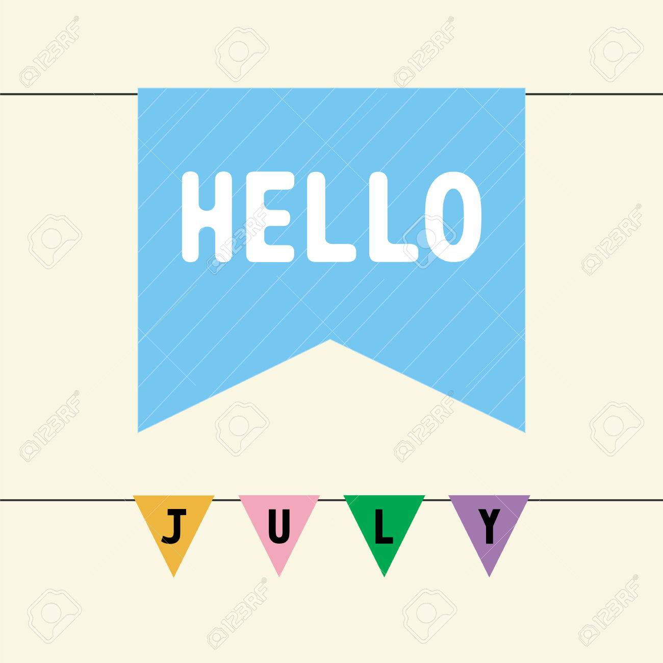 Superior Hello July Card For Greeting Stock Vector   27597946