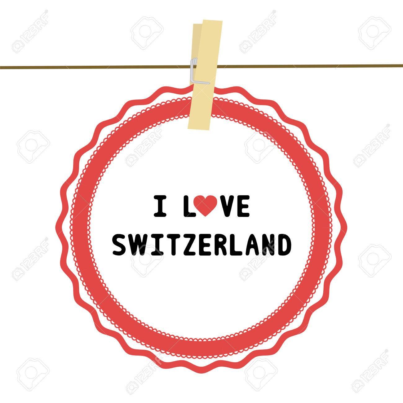 Ich Liebe Die Schweiz Brief Karte Für Die Dekoration Lizenzfrei