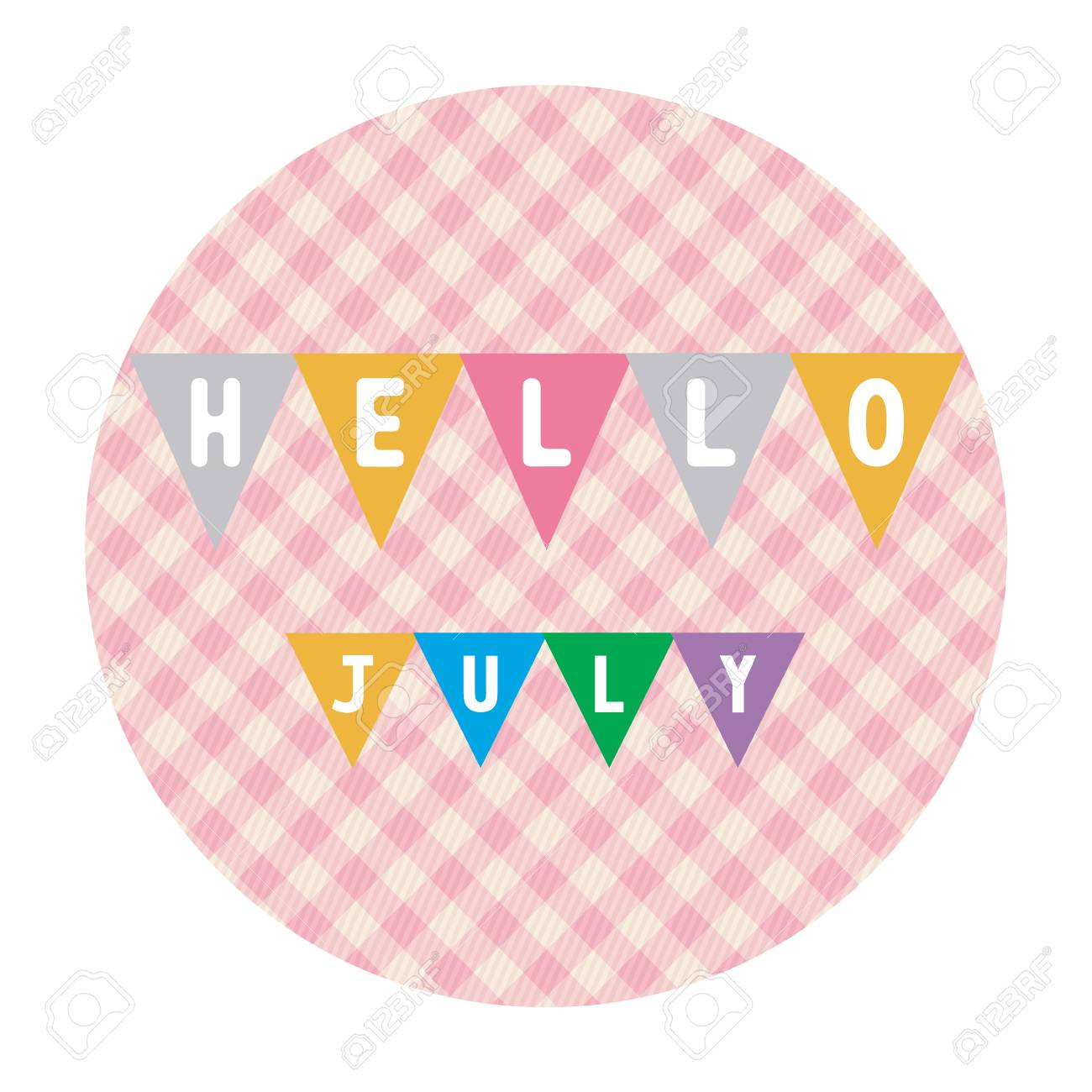 Hello July Card For Greeting. Stock Vector   31289437