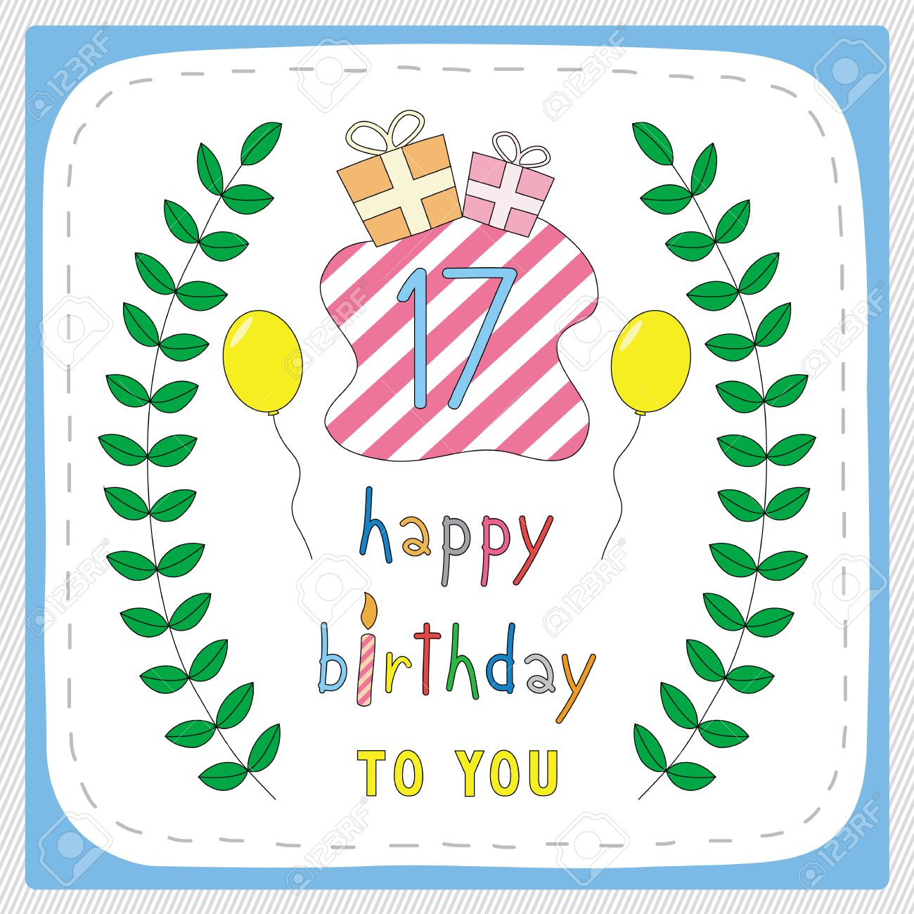 Happy Birthday Card With 17th And For 17 Years Anniversary Celebration Stock Vector