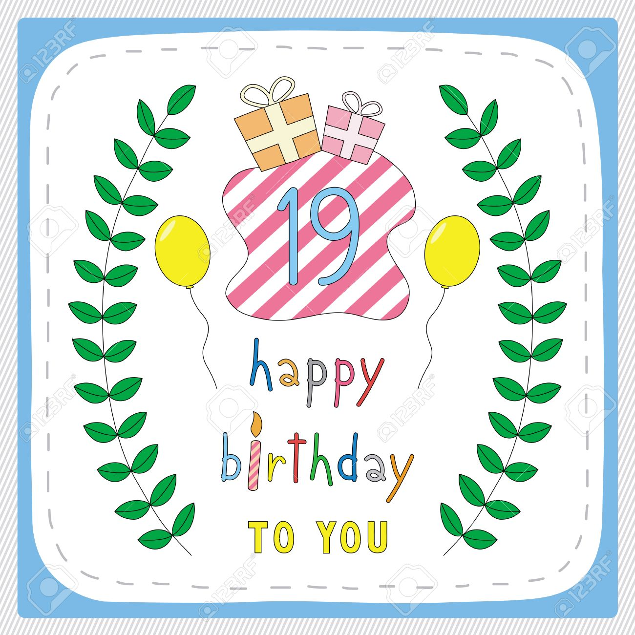 Happy Birthday Card With 19th Birthday And For 19 Years – Happy 19th Birthday Cards