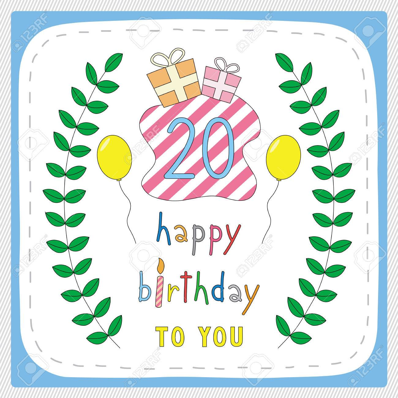 Happy Birthday Card With 20th And For 20 Years Anniversary Celebration Stock Vector