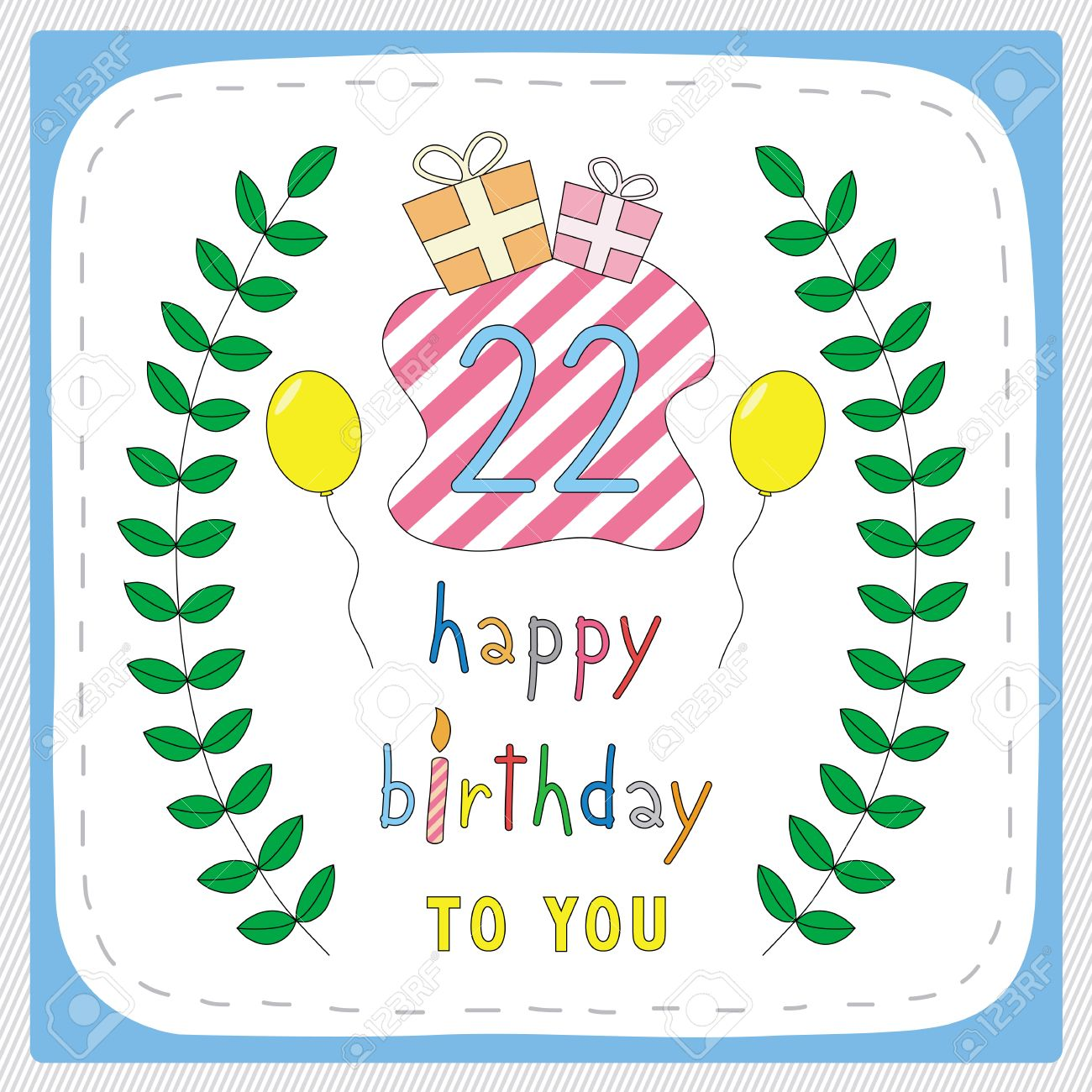 Happy Birthday Card With 22nd And For 22 Years Anniversary Celebration Stock Vector