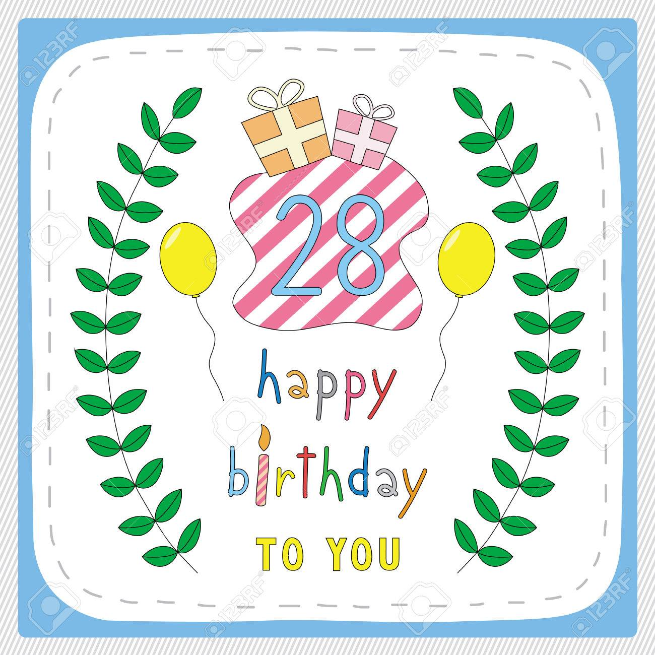 Happy birthday card with 28th birthday and for 28 years anniversary happy birthday card with 28th birthday and for 28 years anniversary celebration stock vector bookmarktalkfo Gallery