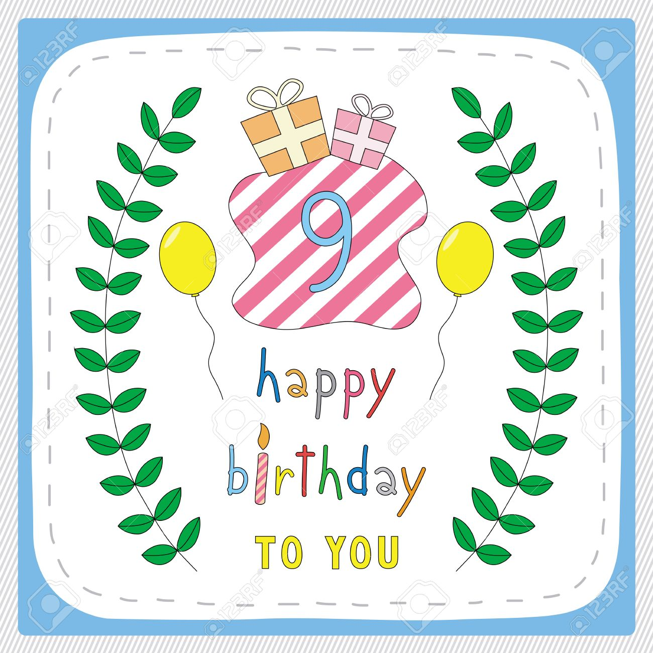 Happy Birthday Card With 9th And For 9 Years Anniversary Celebration Stock Vector