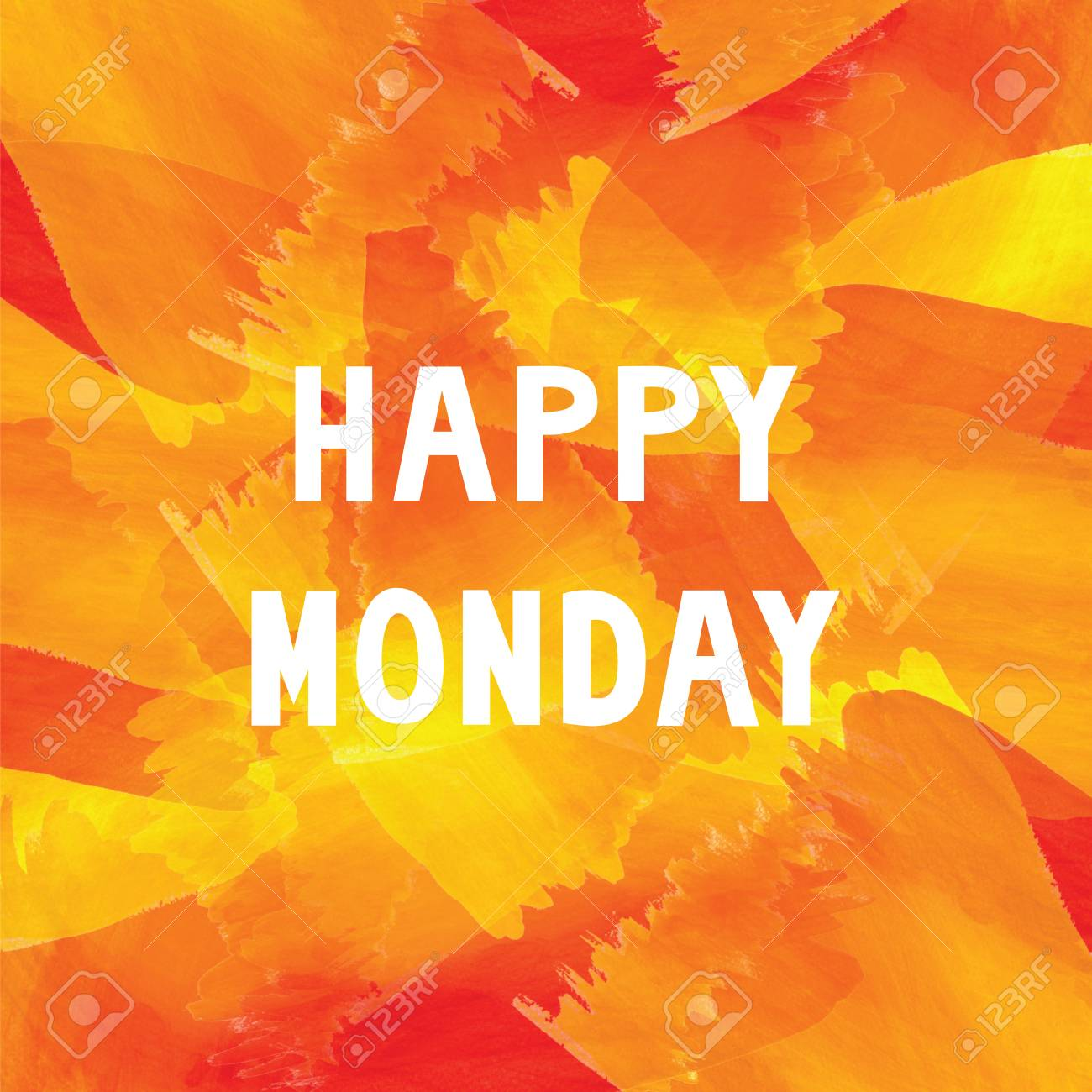 happy monday on colorful watercolor stock photo picture and