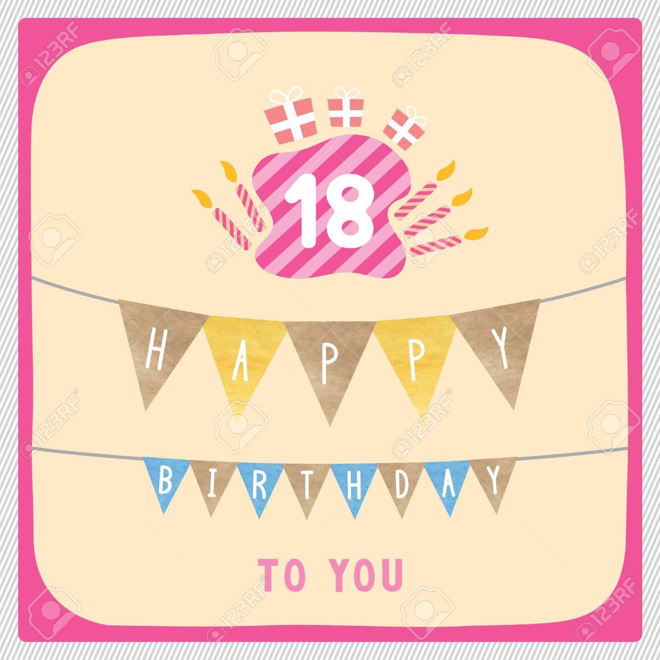 Glucklicher 18 Geburtstag Karte Mit Geschenk Boxen Und Kerzen