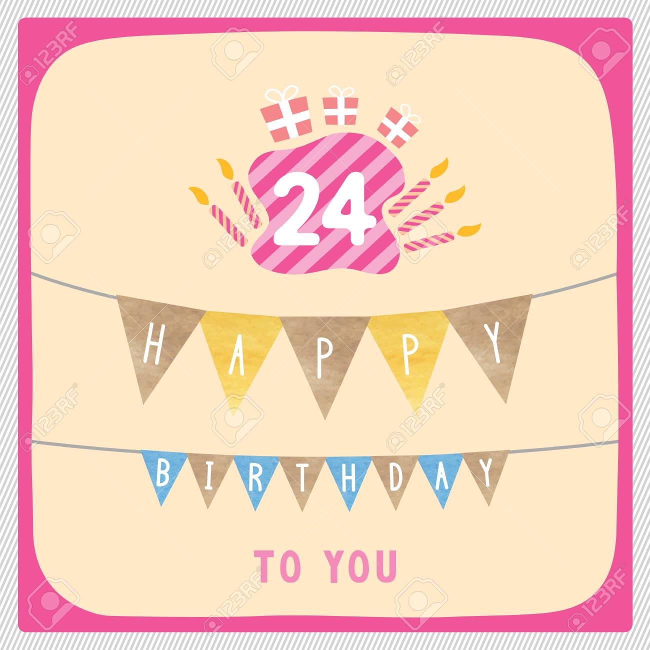 happy 24th birthday anniversary card with gift boxes and candles