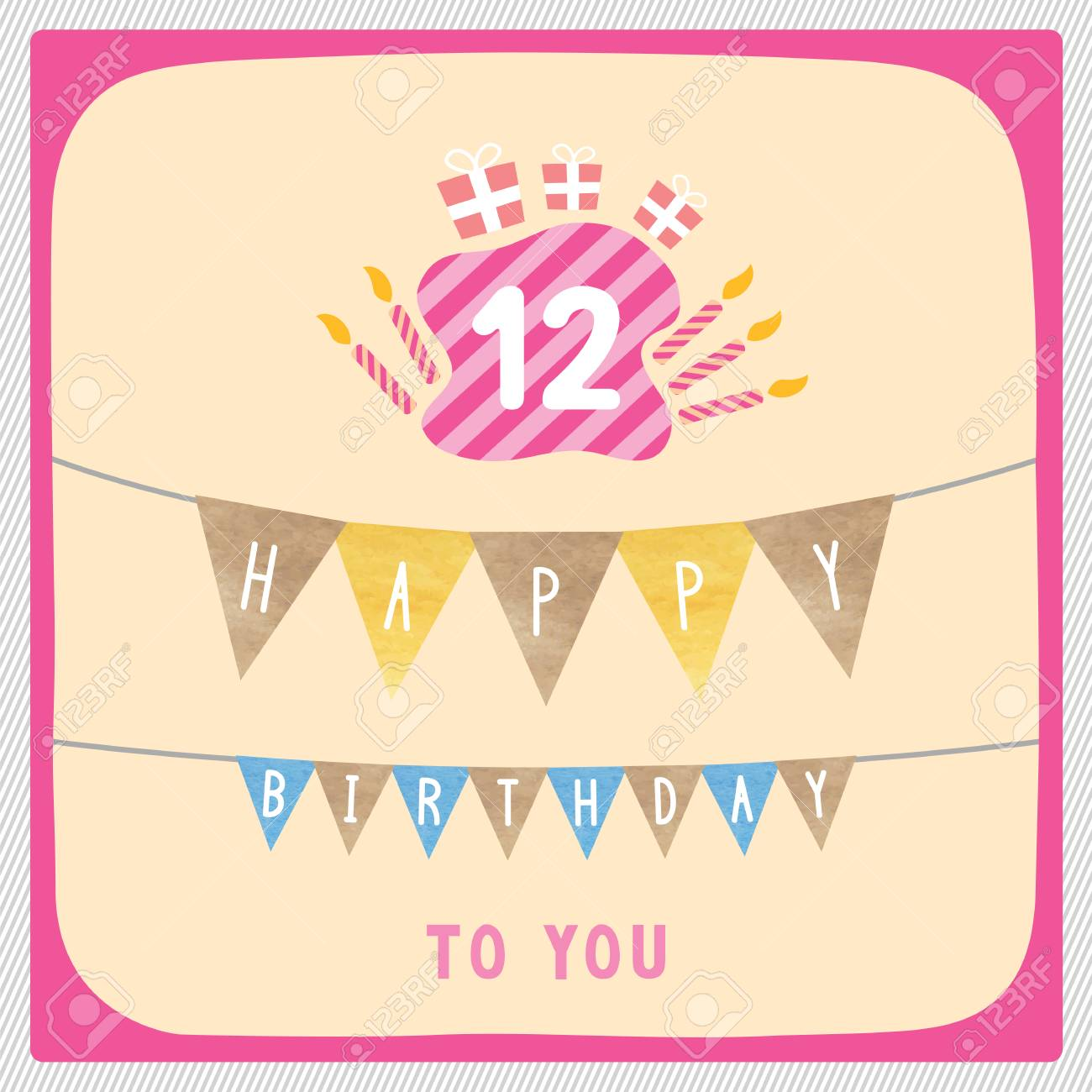 Happy 12th Birthday Anniversary Card With Gift Boxes And Candles Stock Photo