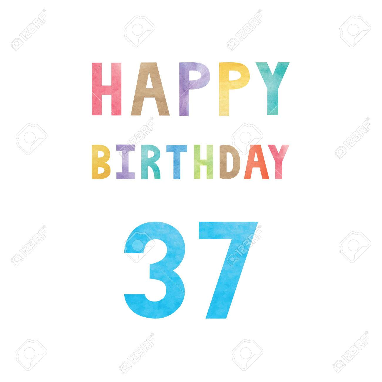 Happy 37th Birthday Anniversary Card With Colorful Watercolor