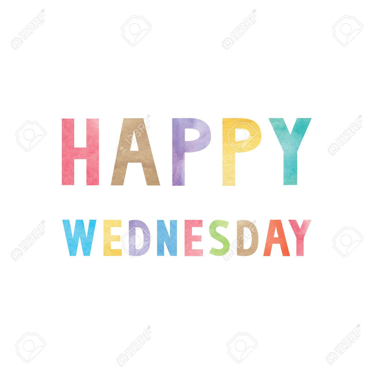 Colorful Watercolor On Happy Wednesday Text. Royalty Free Cliparts ...