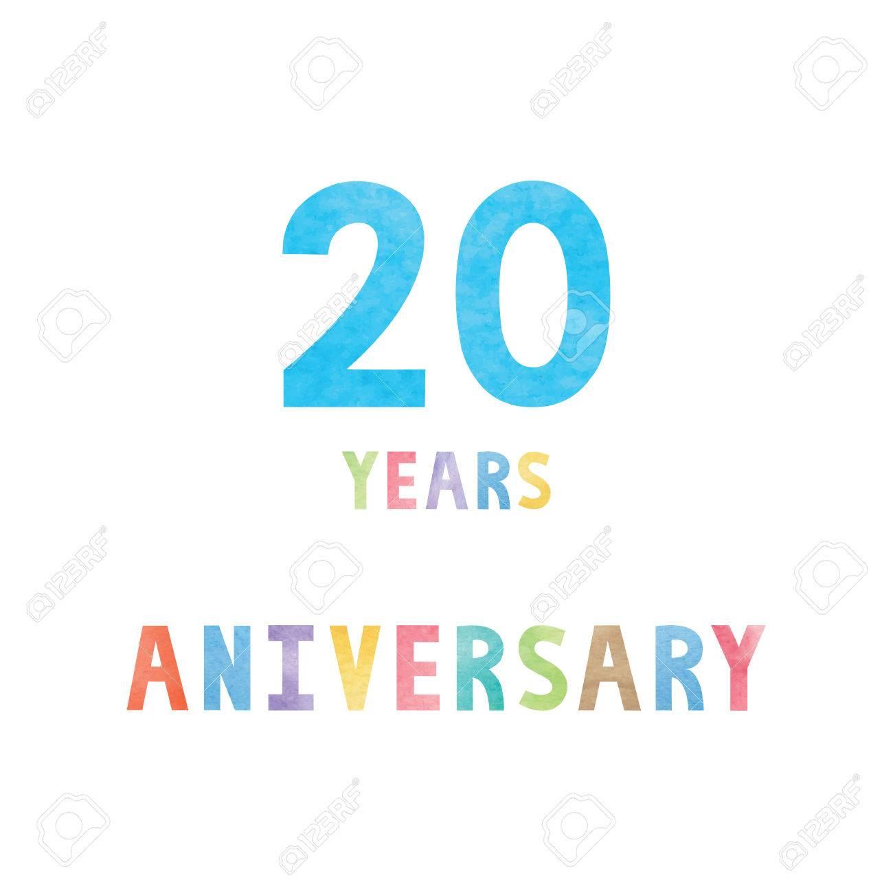 20 Ans D Anniversaire Carte Celebration Avec Le Texte Colore D