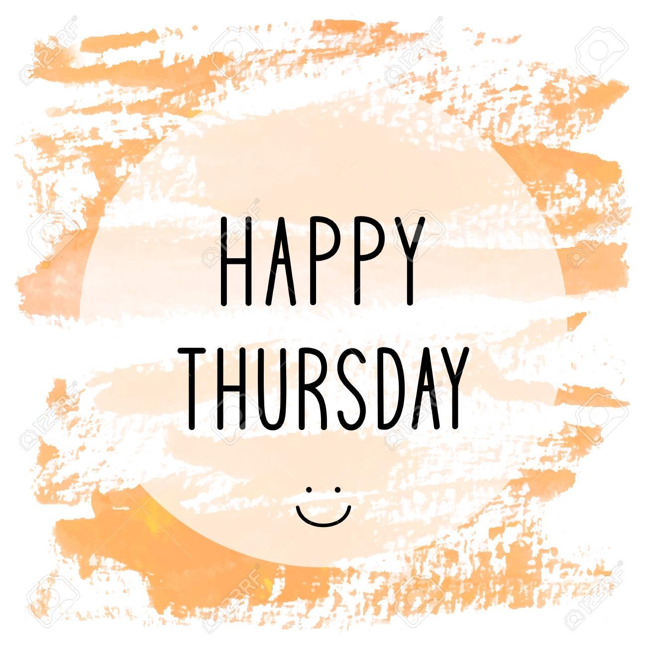 Happy Thursday Text On Orange Watercolor Background Stock Photo