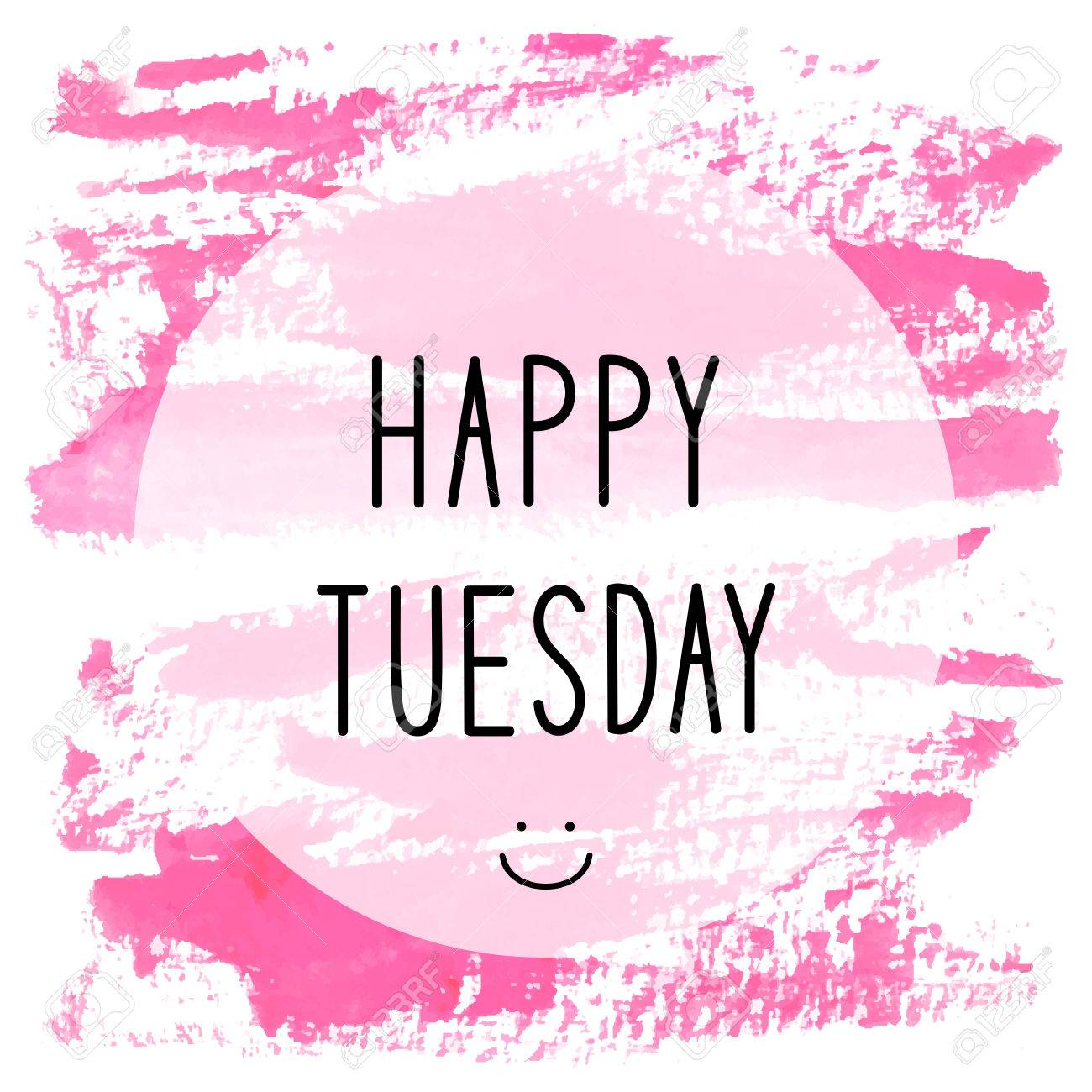 Happy Tuesday Text On Pink Watercolor Background. Stock Photo ...