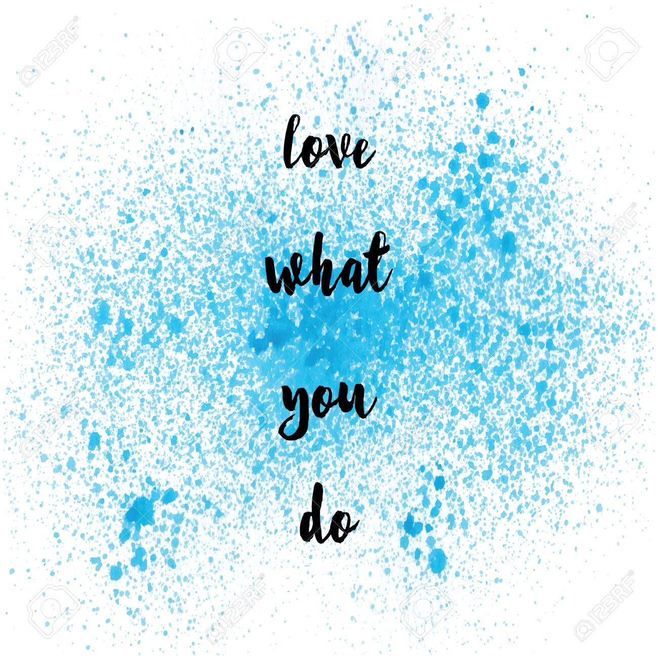 quote on blue spray paint background stock photo