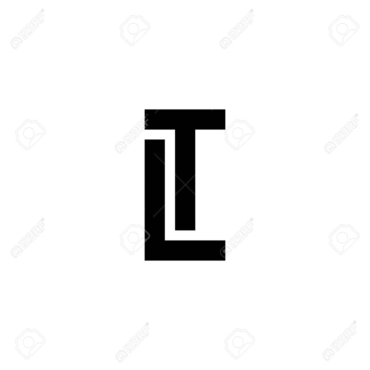 Black and white letter LT TL L T initial logo icon. Modern typography design template elements. - 141520746