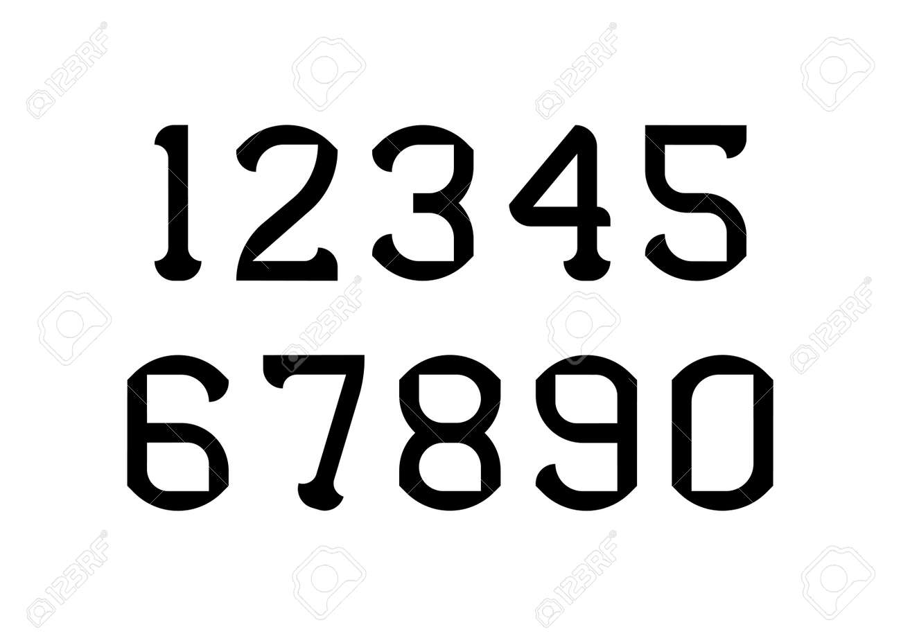 Set of numbers with black typography design elements. Vector illustration. - 152374136