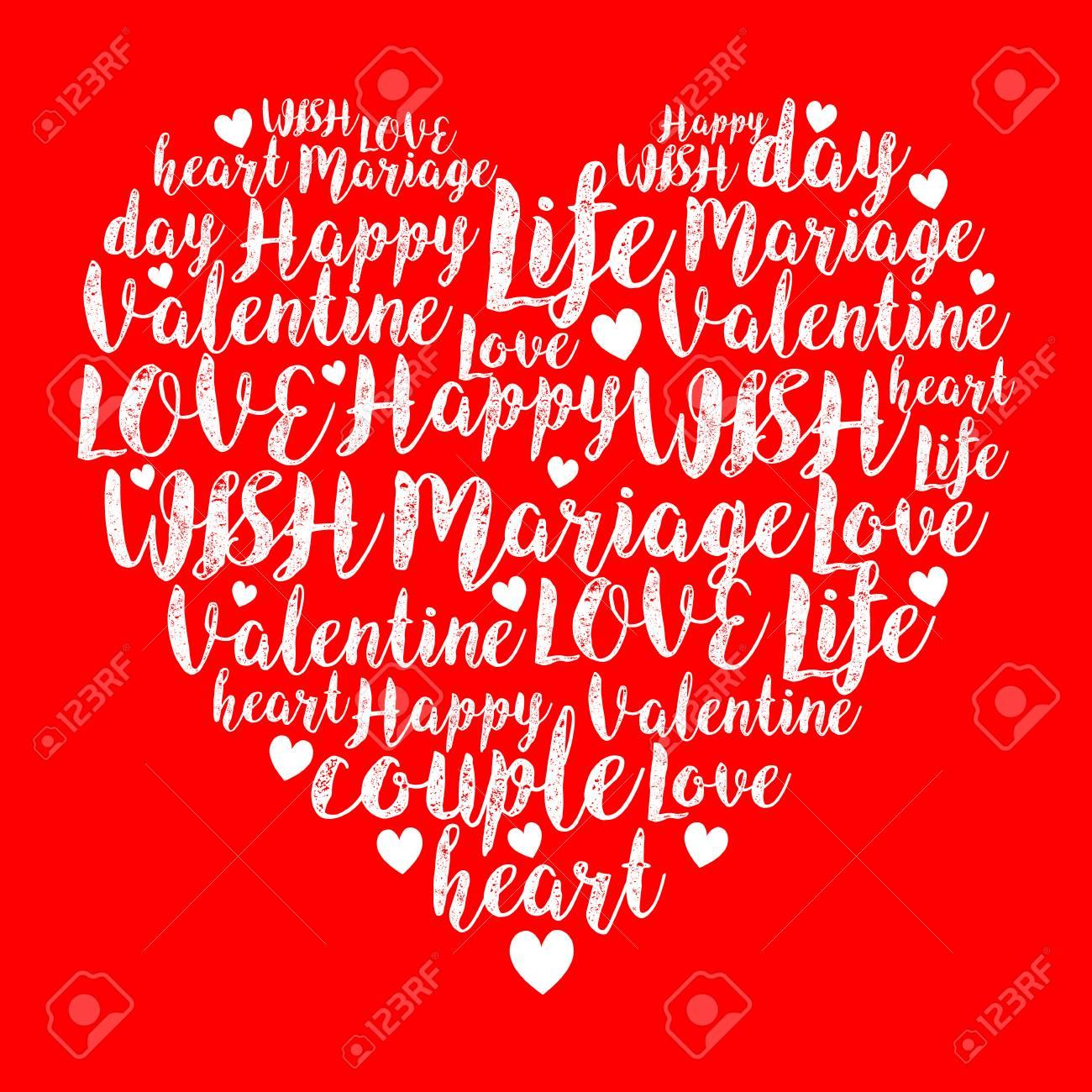 Forma De Corazón De San Valentín De Letras Y Corazones Pequeños
