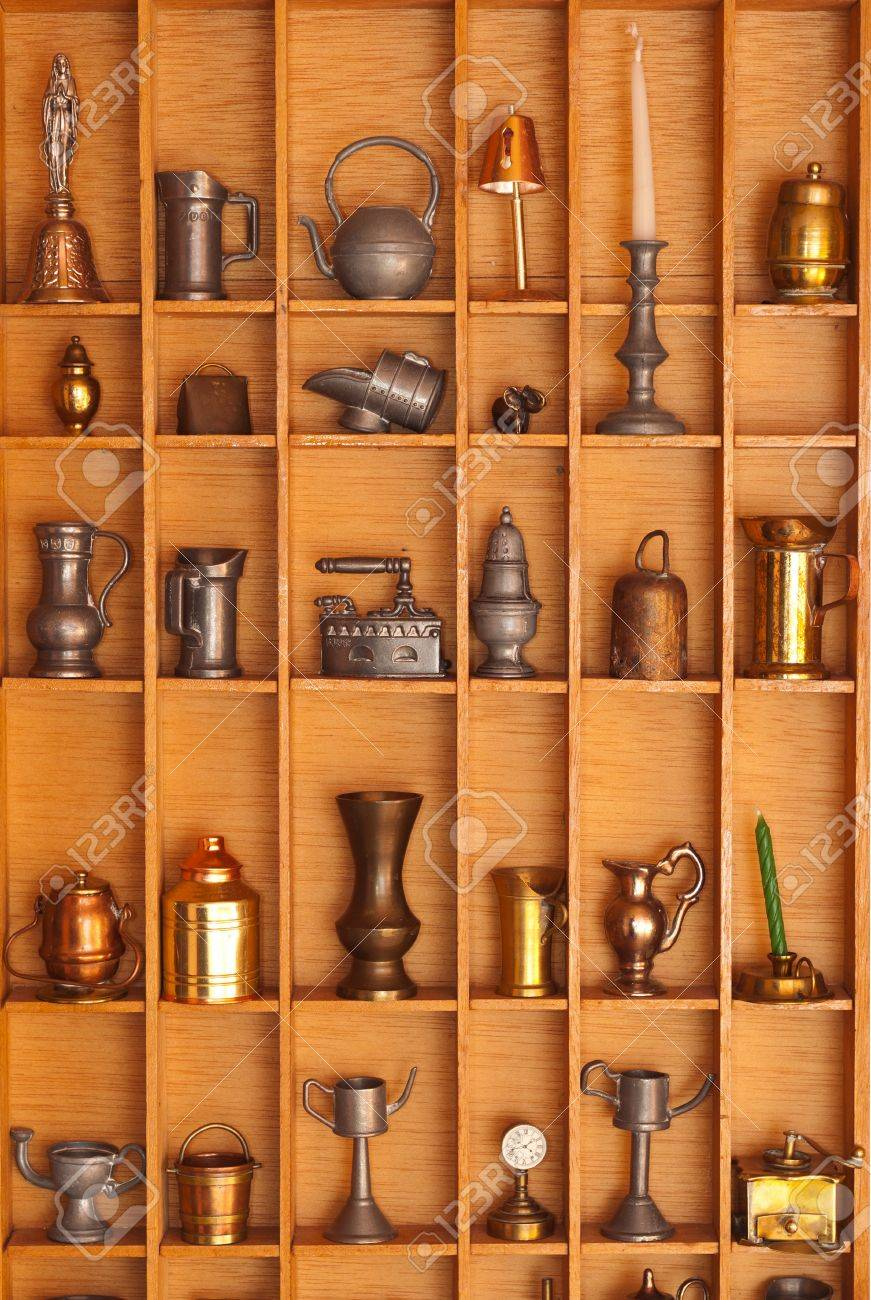 Decorative Display Cases Display Case With Miniature Decorative Tools In The Vintage Style