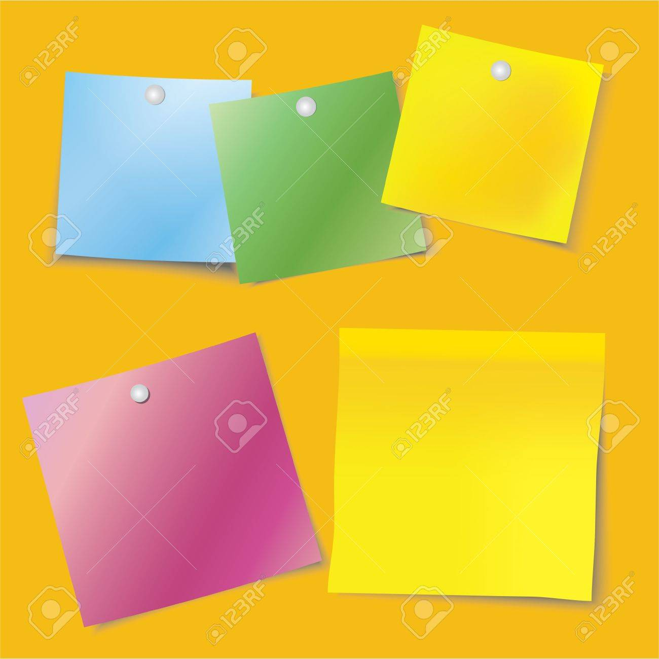 Colour Sheets Of The Notebook Pinned To The Orange Board Royalty ...