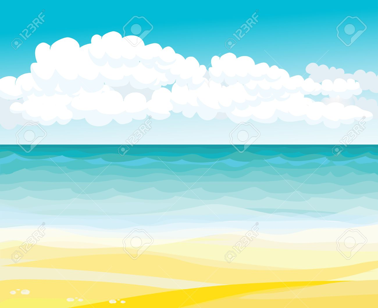 landscape drawing beach. drawing beach and sea landscape with clouds stock vector 36354132 b