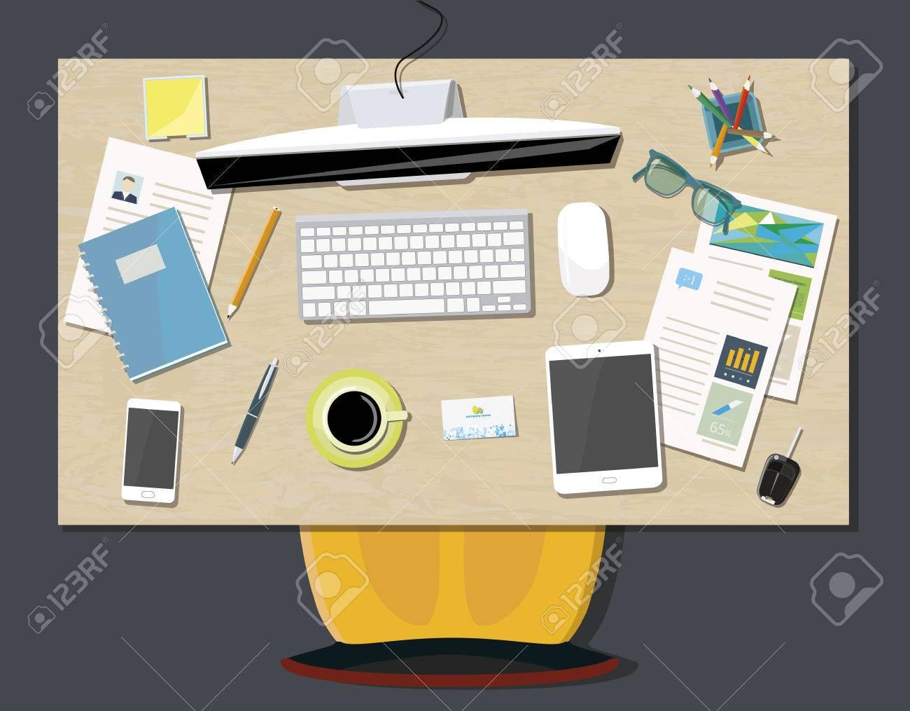 Konzept Business Büro Mit Blick Auf Schreibtisch Von Oben Standard Bild    41068273