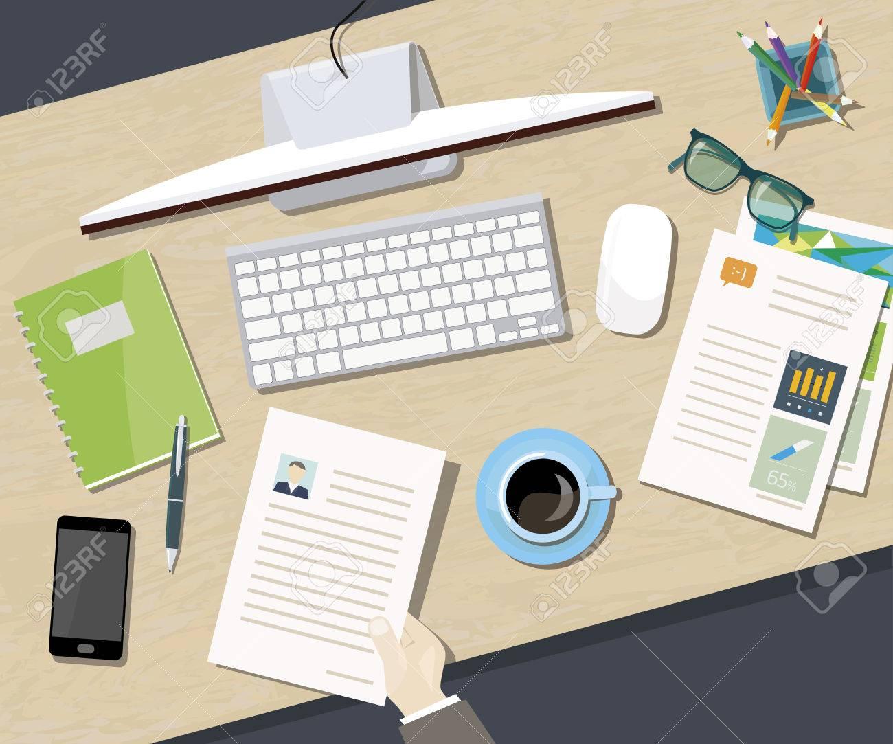 Konzept Business Büro Mit Blick Auf Schreibtisch Von Oben Standard Bild    41186233