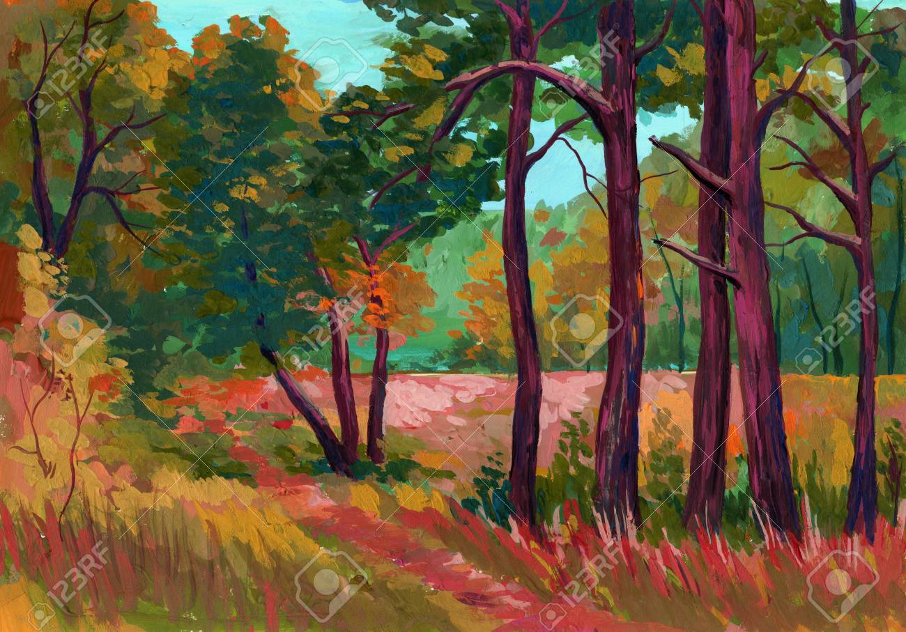 Beautiful Bright Painted Colors Of A Park Landscape With Trees ...