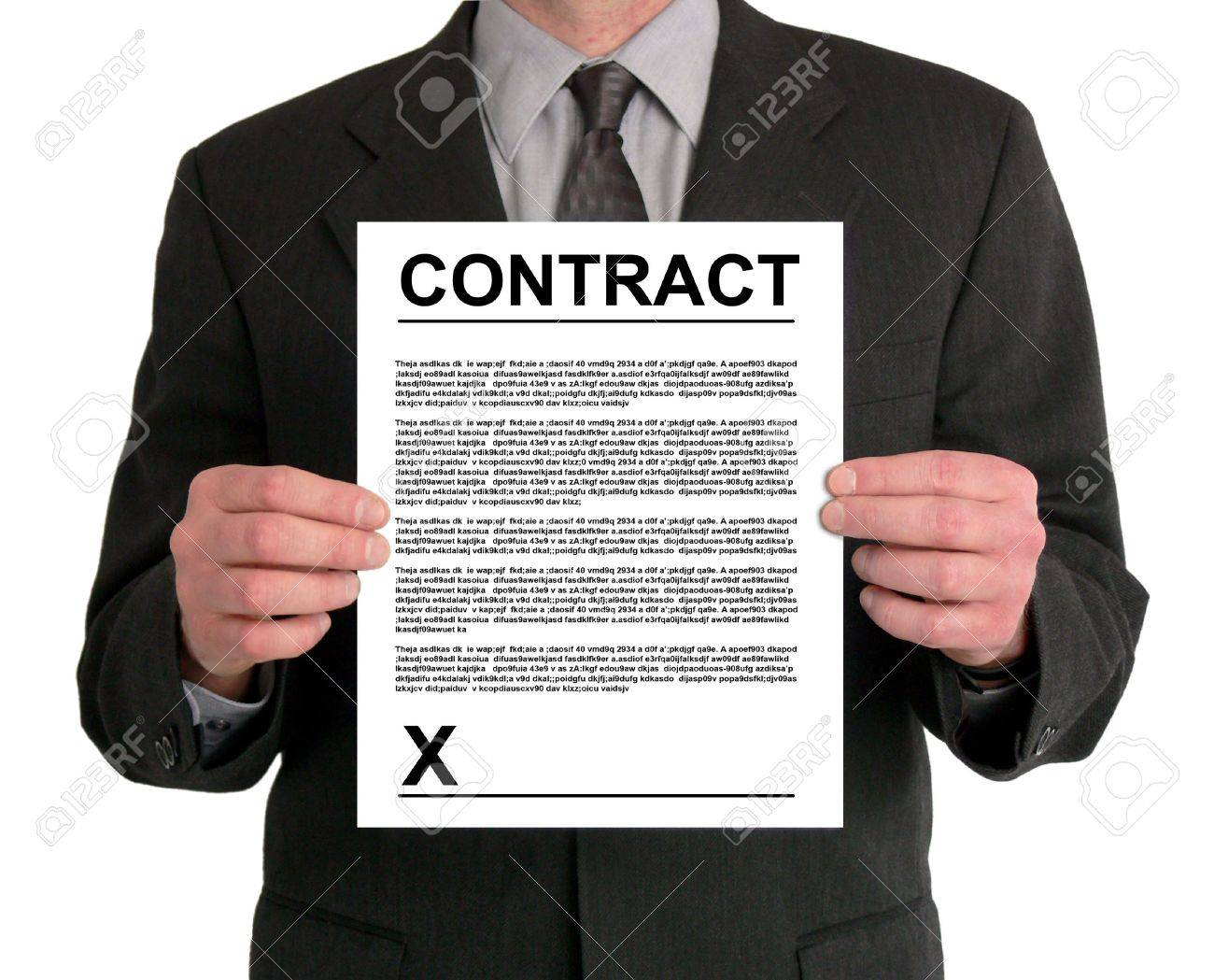 Image of a businessman's torso. He is holding a contract in front of him. Stock Photo - 417656