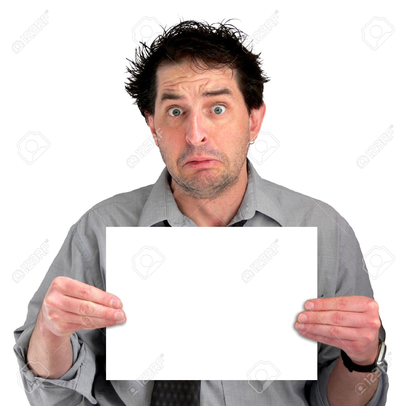 Tired, freaked-out business man displaying a blank sign. Stock Photo - 417470