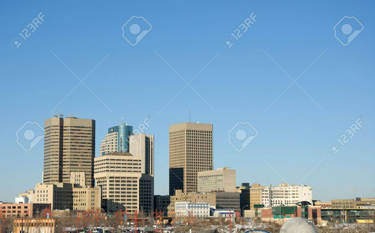 Downtown Winnipeg skyline, with lots of blue sky above. Stock Photo - 640268