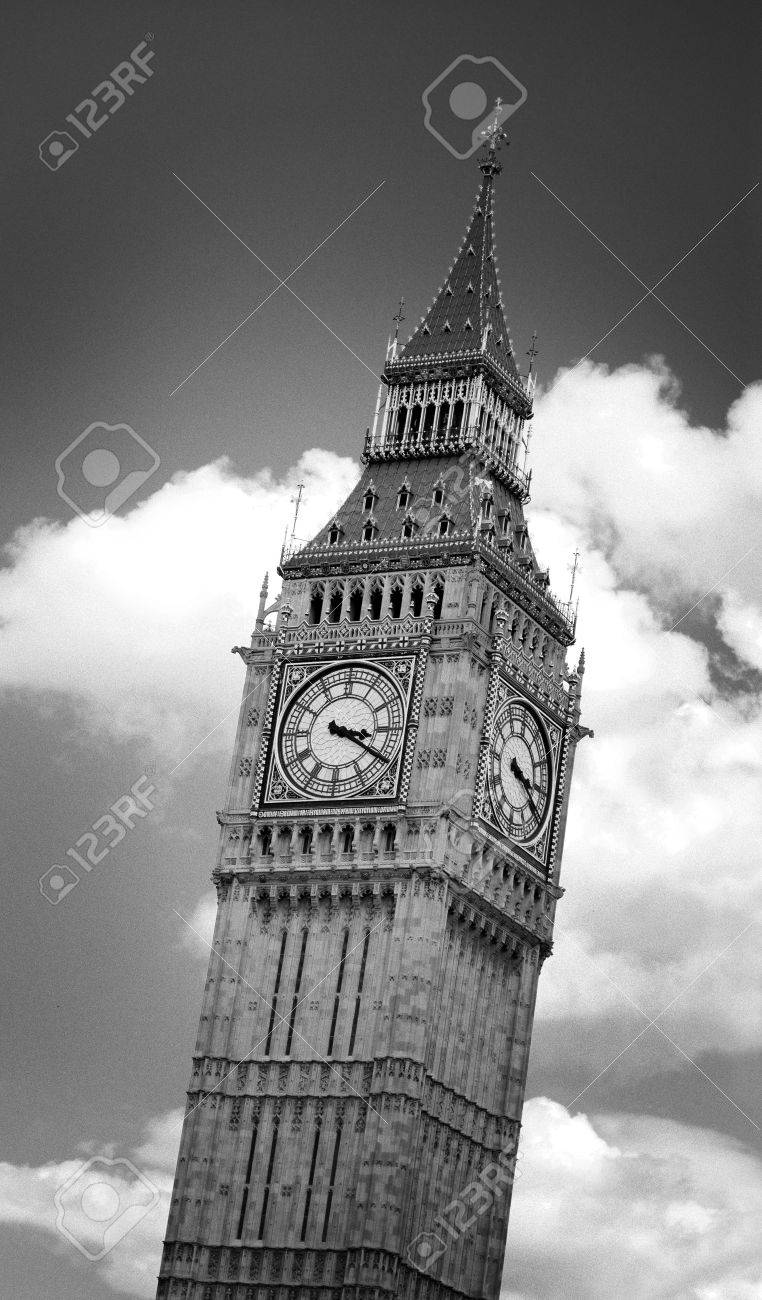 Black and white image of Big Ben clock tower in London, England, against dramatic clouds. Image has an added film grain effect. Stock Photo - 1780867