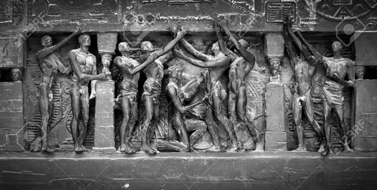 Black and white image showing detail from the Human Rights Monument in Paris, France, near the Eiffel Tower and the Champs de Mars. Image has an added film grain effect. Stock Photo - 1780863