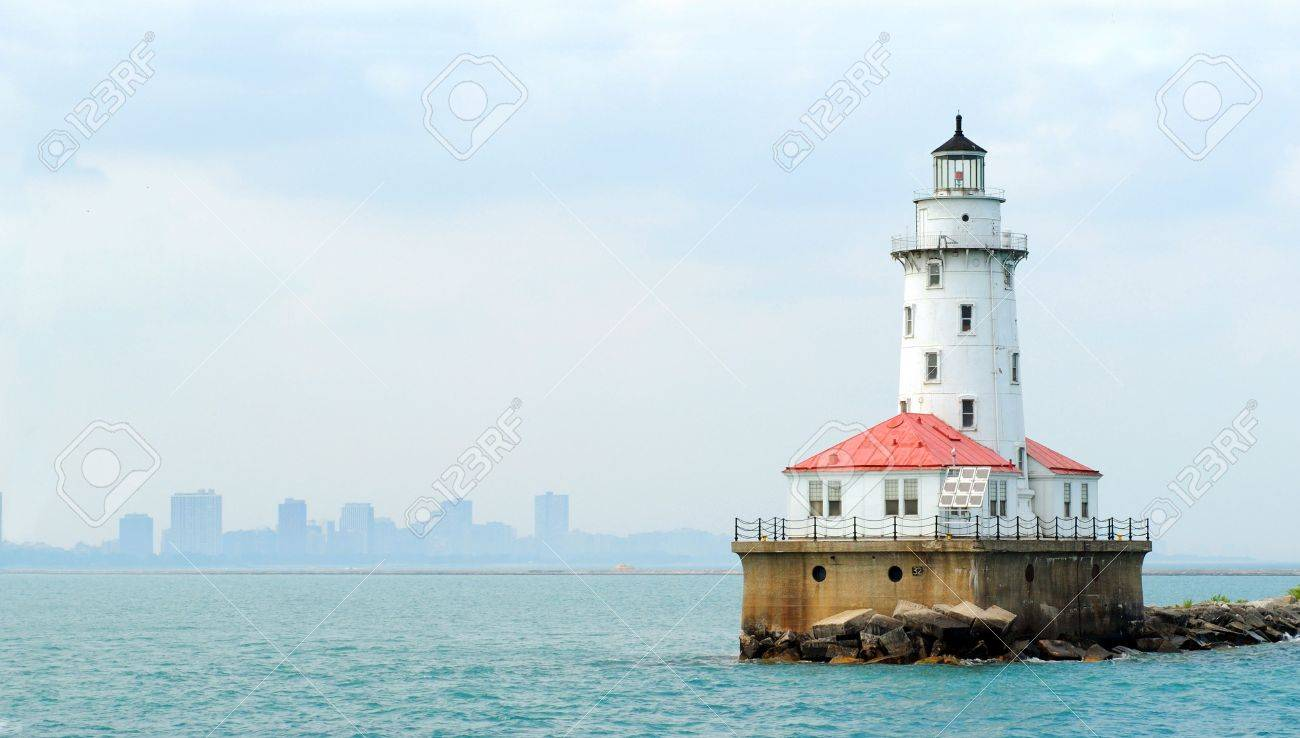 Lighthouse at Navy Pier in Chicago, with skyline visible in background. Stock Photo - 3609533