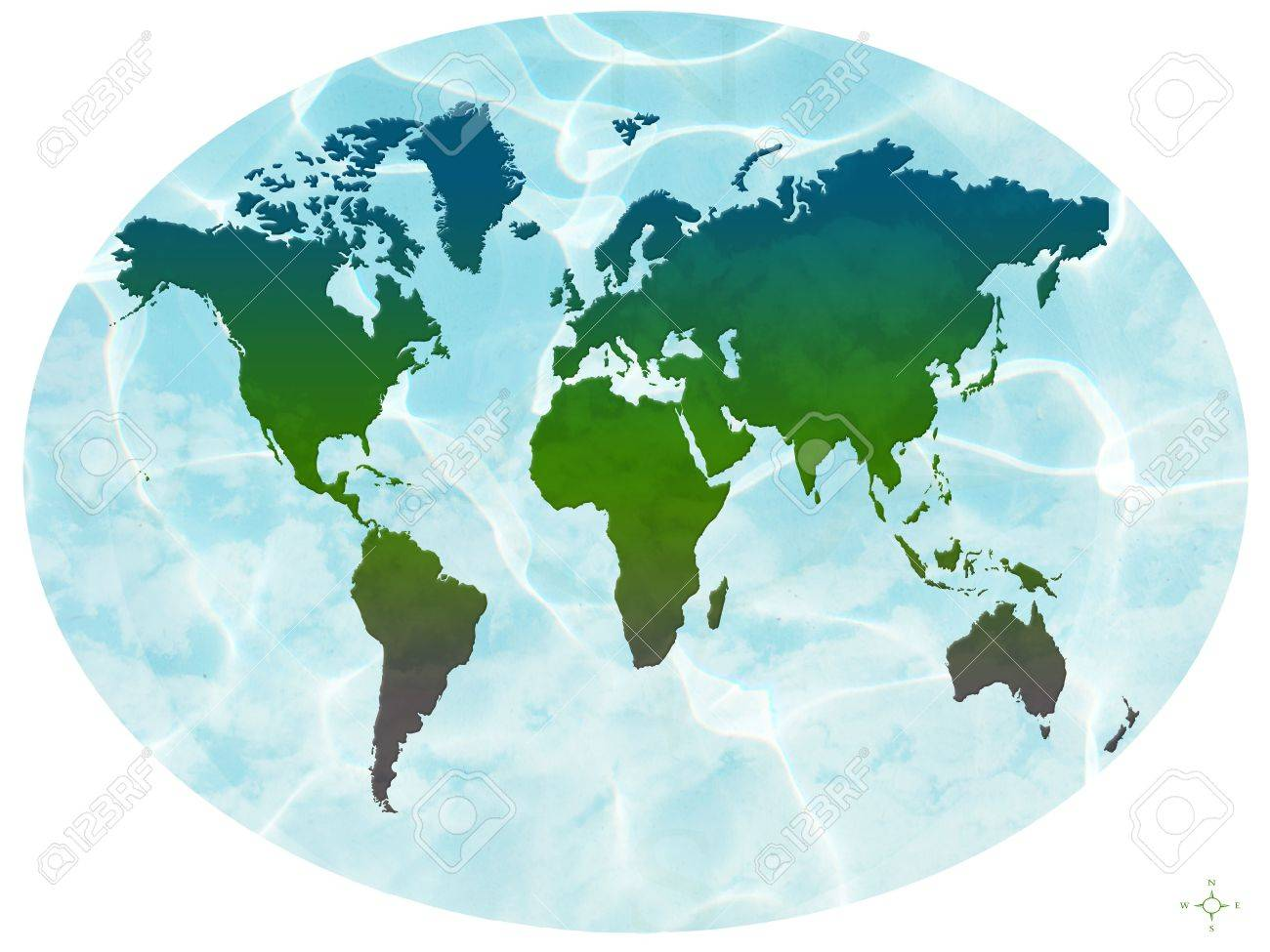 World map in oval with water and clouds stock photo picture and stock photo world map in oval with water and clouds gumiabroncs Image collections