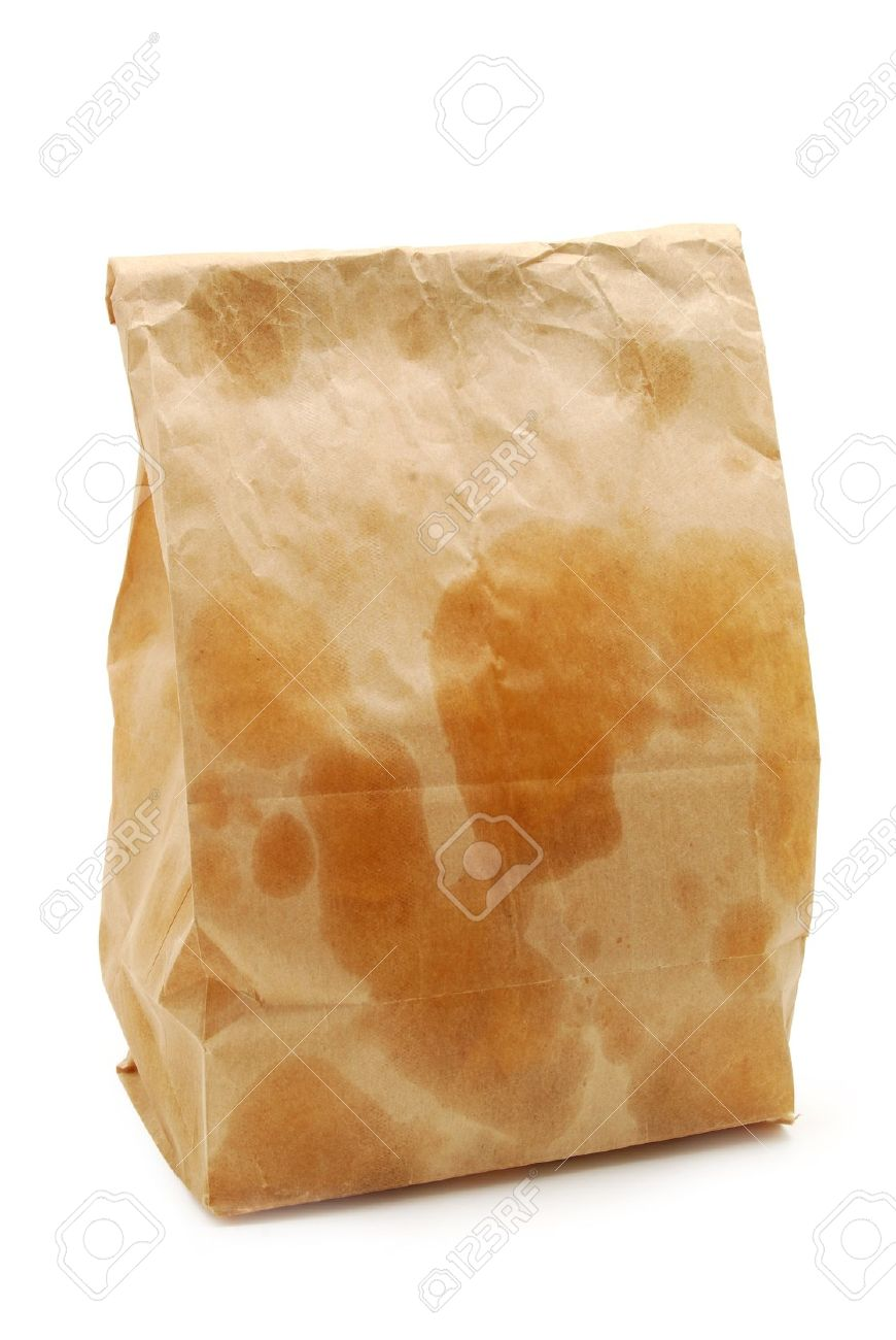 brown paper bag with grease spots Stock Photo - 8764145