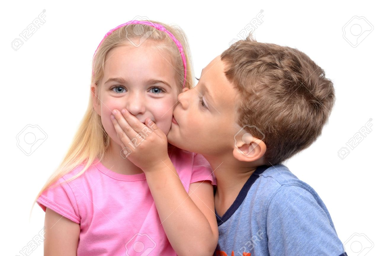 Little boy kissing girl white background stock photo picture and little boy kissing girl white background stock photo 13828278 altavistaventures Images