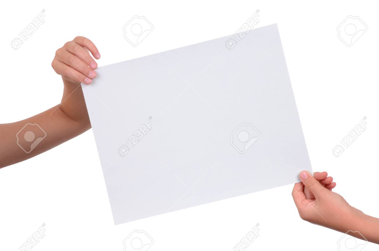 hands holding a blank piece of paper isolated on white background