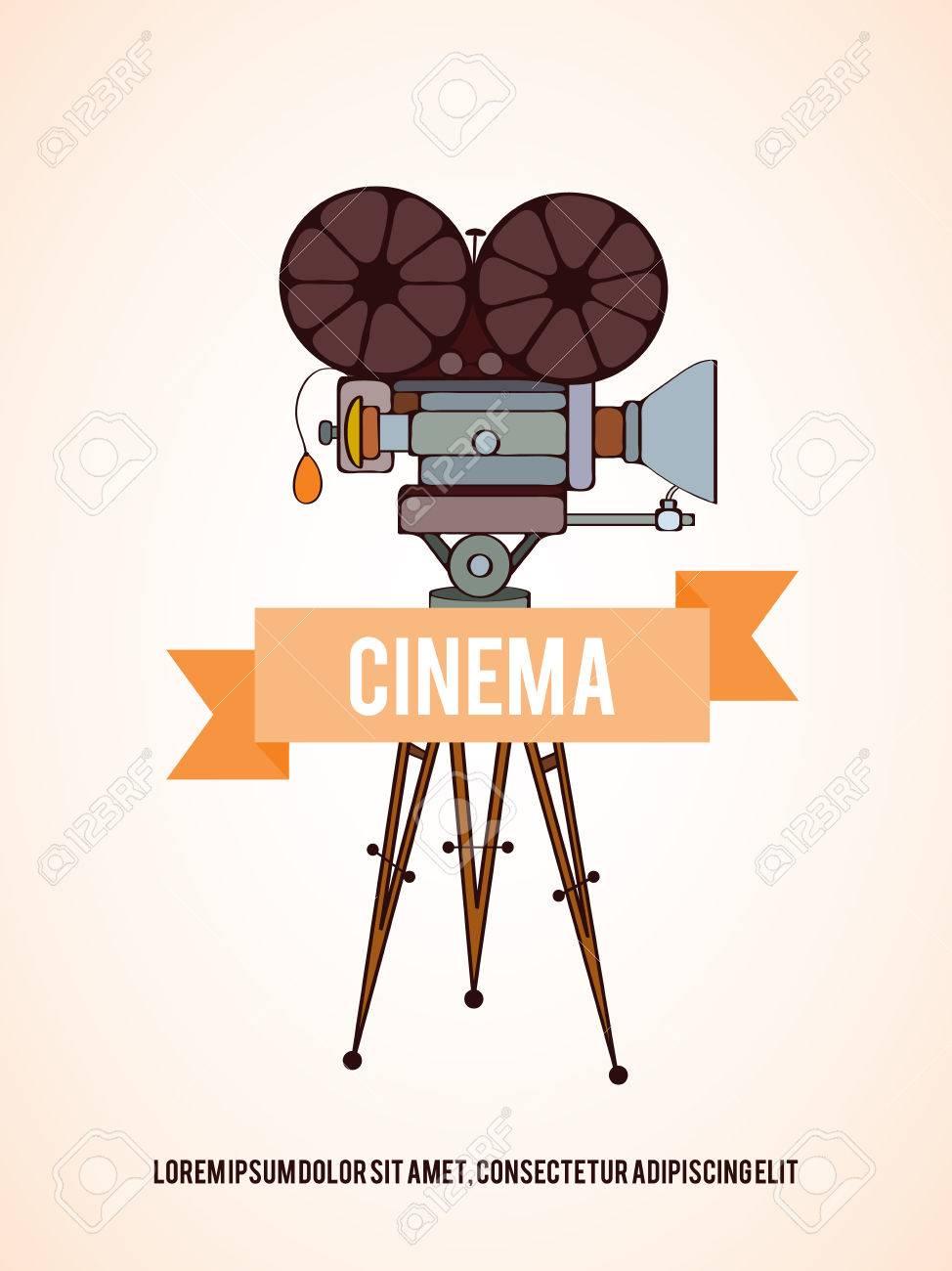 Hand Gezeichnete Vektor Kino-Kamera-Karte, Die Für Film-Karten ...