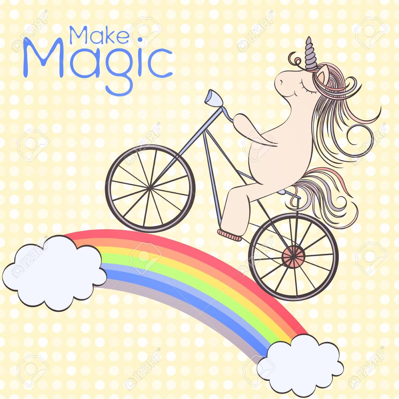 Vector Dibujado A Mano La Tarjeta De Cumpleaños Del Unicornio Y Que Se Pueden Utilizar Para Otras Tarjetas De Vacaciones Invitación O Página Web