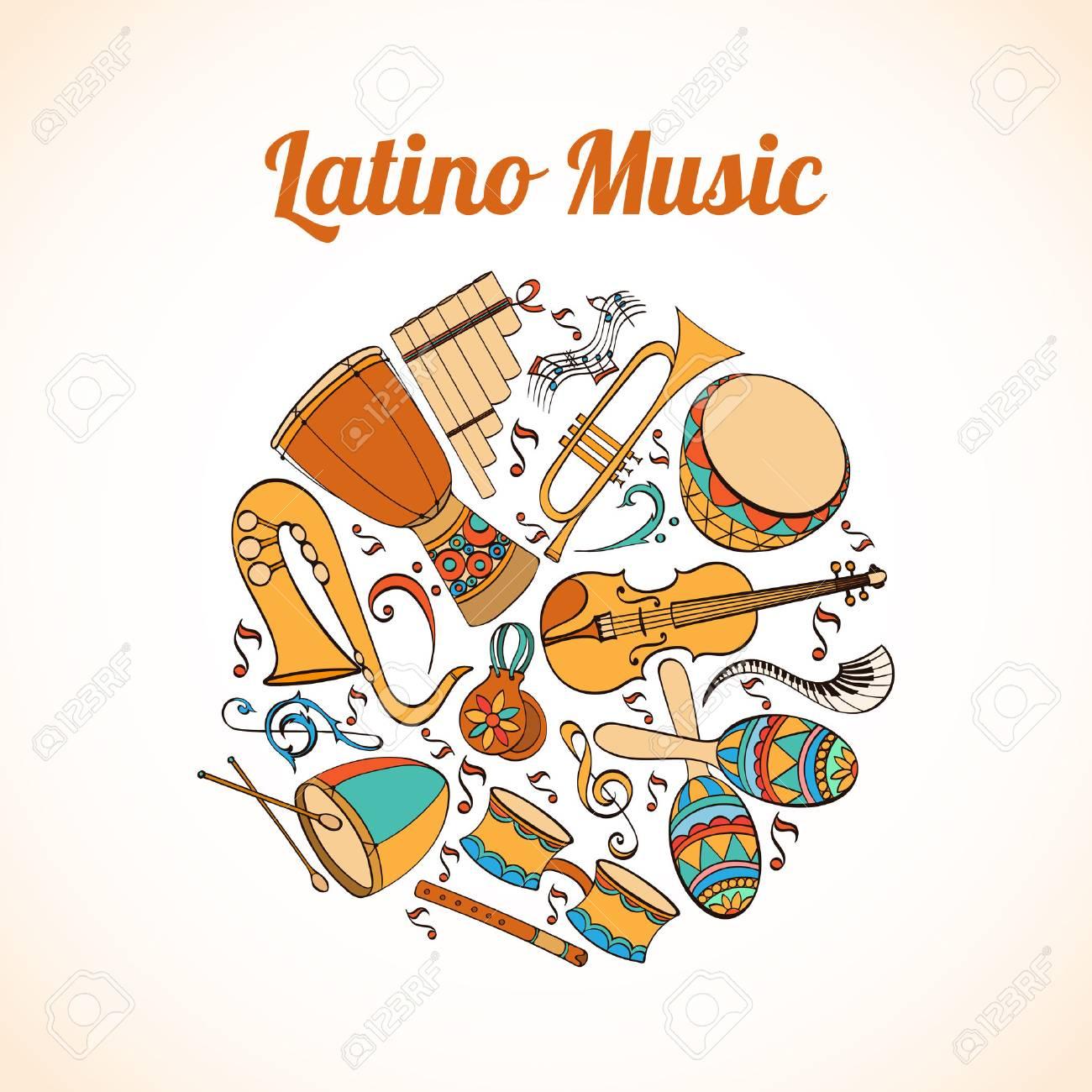 Salsa Carte Musicale Invitation D Instruments De Musique Latino Fond Latino Peut Etre Utilise Comme Carte D Invitation Pour Mariage Anniversaire Et Autres Fetes Et Fond D Ete Vector Illustration Clip Art Libres De Droits