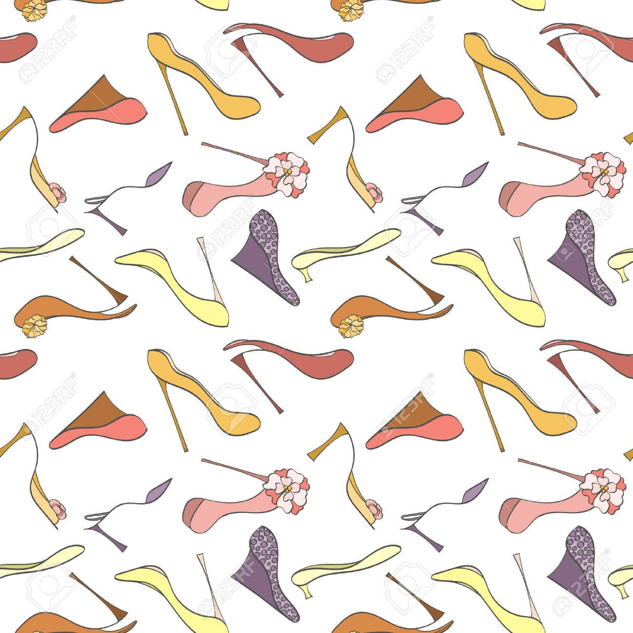 Seamless Shoes Pattern Can Be Used For Wallpaper Website Background Wrapping Paper High