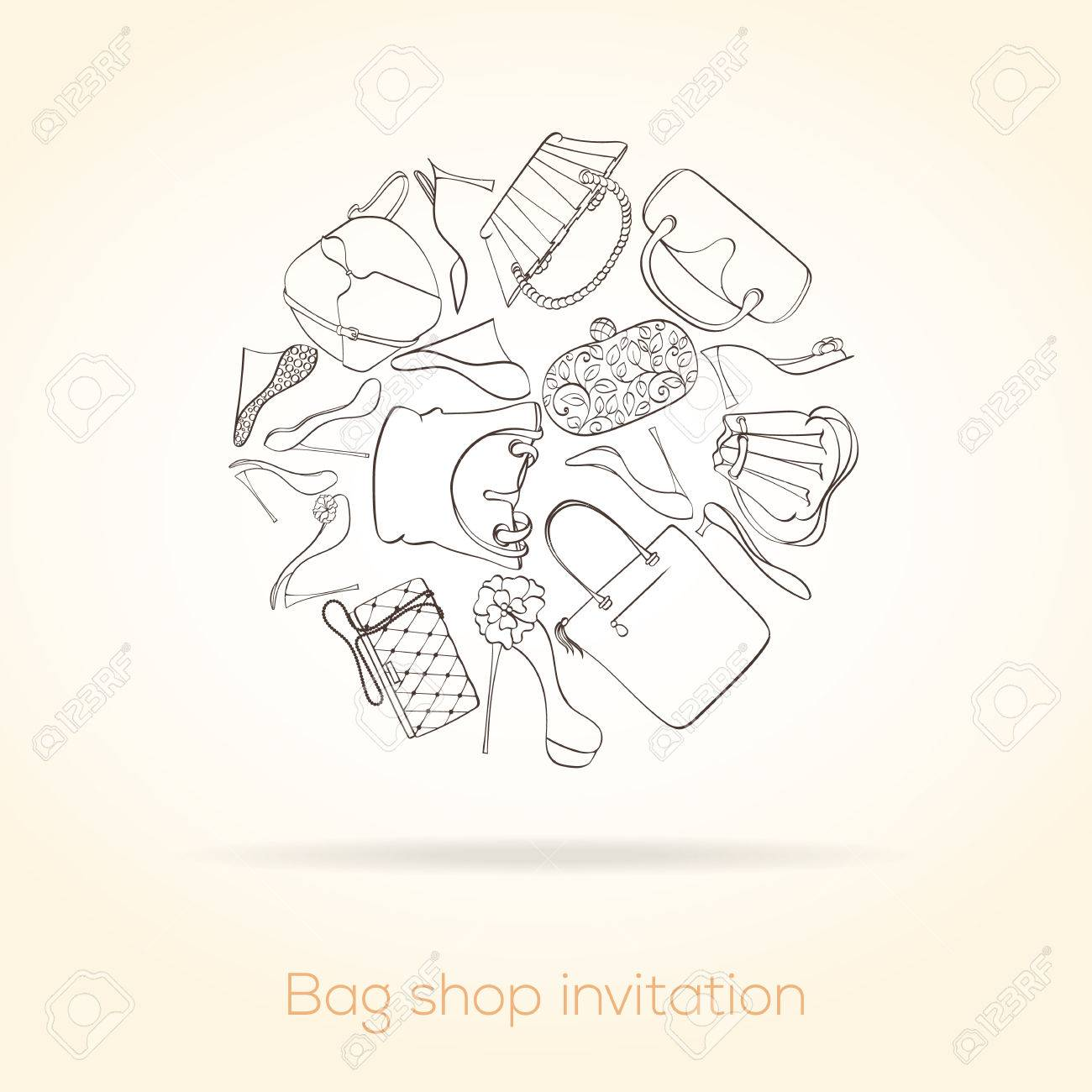 Invitation Card For Women Bag Shop Card Can Be Used For Holiday