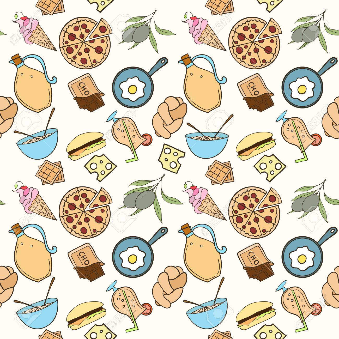 seamless food pattern can be used for wallpaper, website background