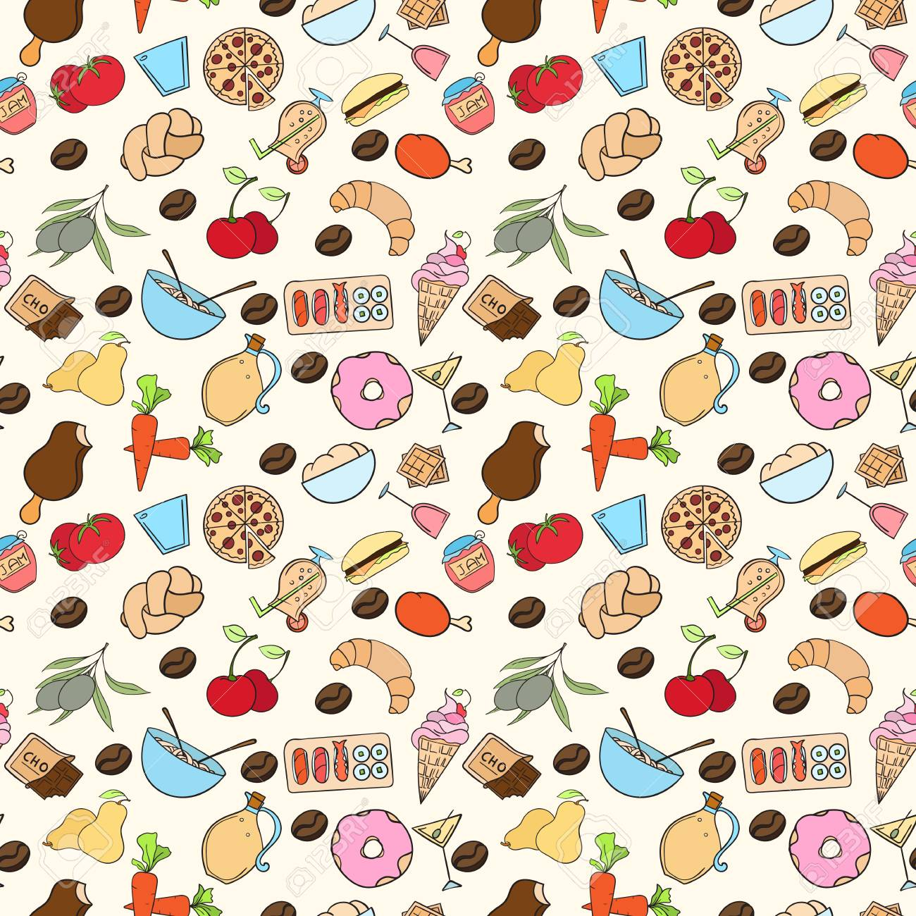 Seamless Food Pattern Can Be Used For Wallpaper Website Background