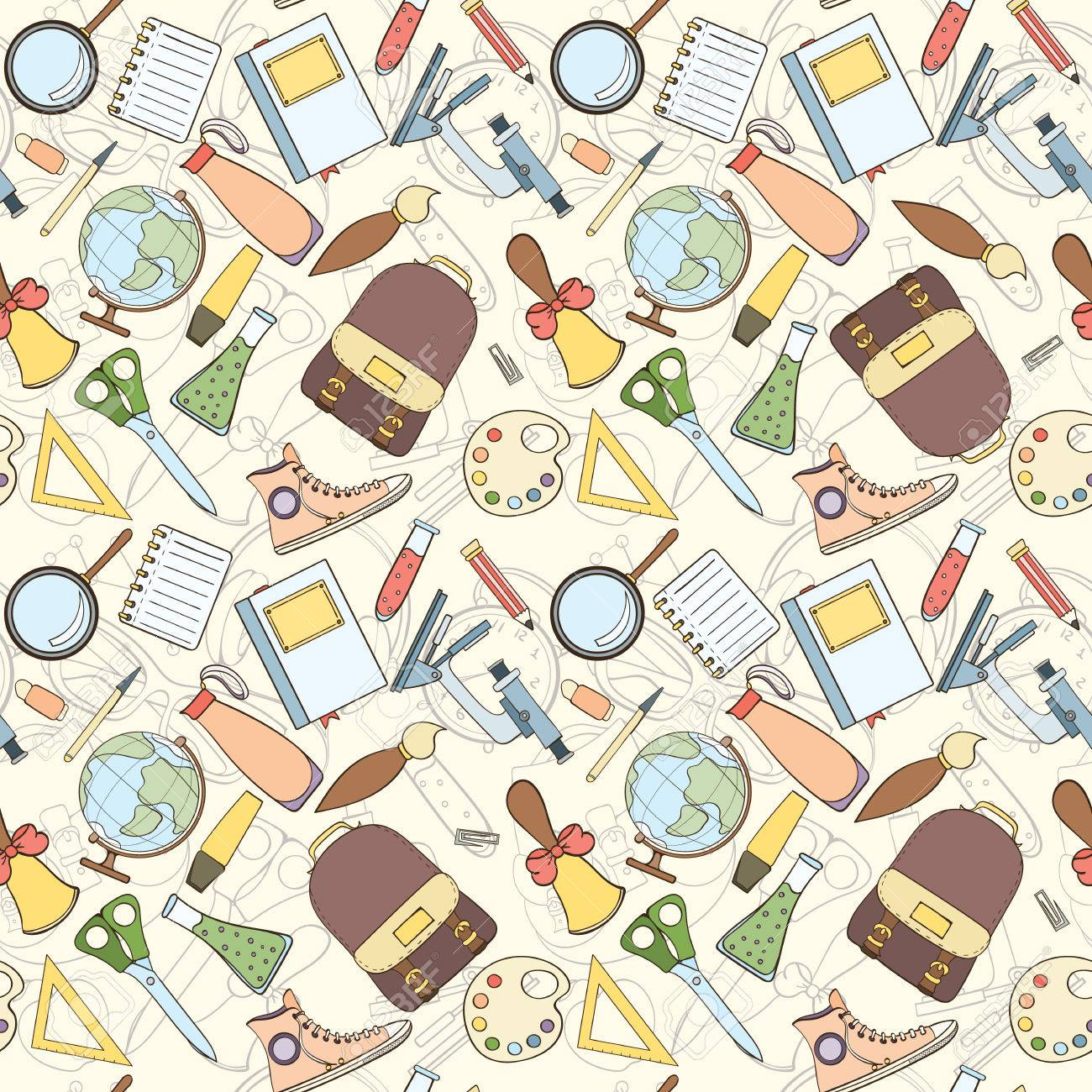 Back To School Seamless Pattern Can Be Used For Wallpaper Website Stock Photo Picture And Royalty Free Image Image 61579461