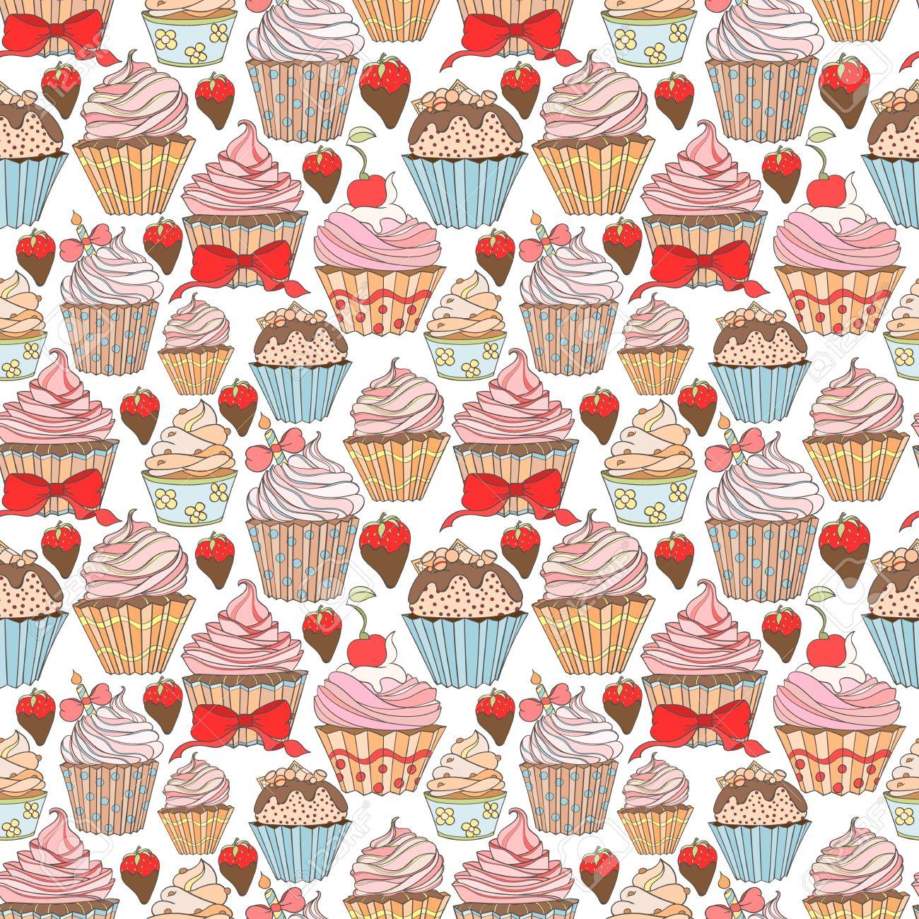 ホームページの壁紙 包装紙 壁紙用カップケーキ カラフルなシームレスなパターンを使用できます カップケーキ汗明るいパターン 砂漠デザインを汗します 食品のコンセプト の写真素材 画像素材 Image