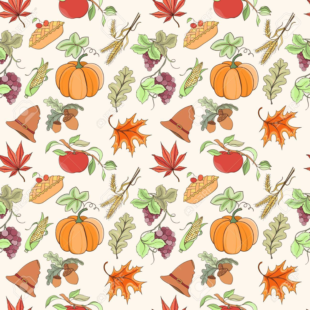 Thanksgiving Seamless Pattern Can Be Used For Wallpaper Website
