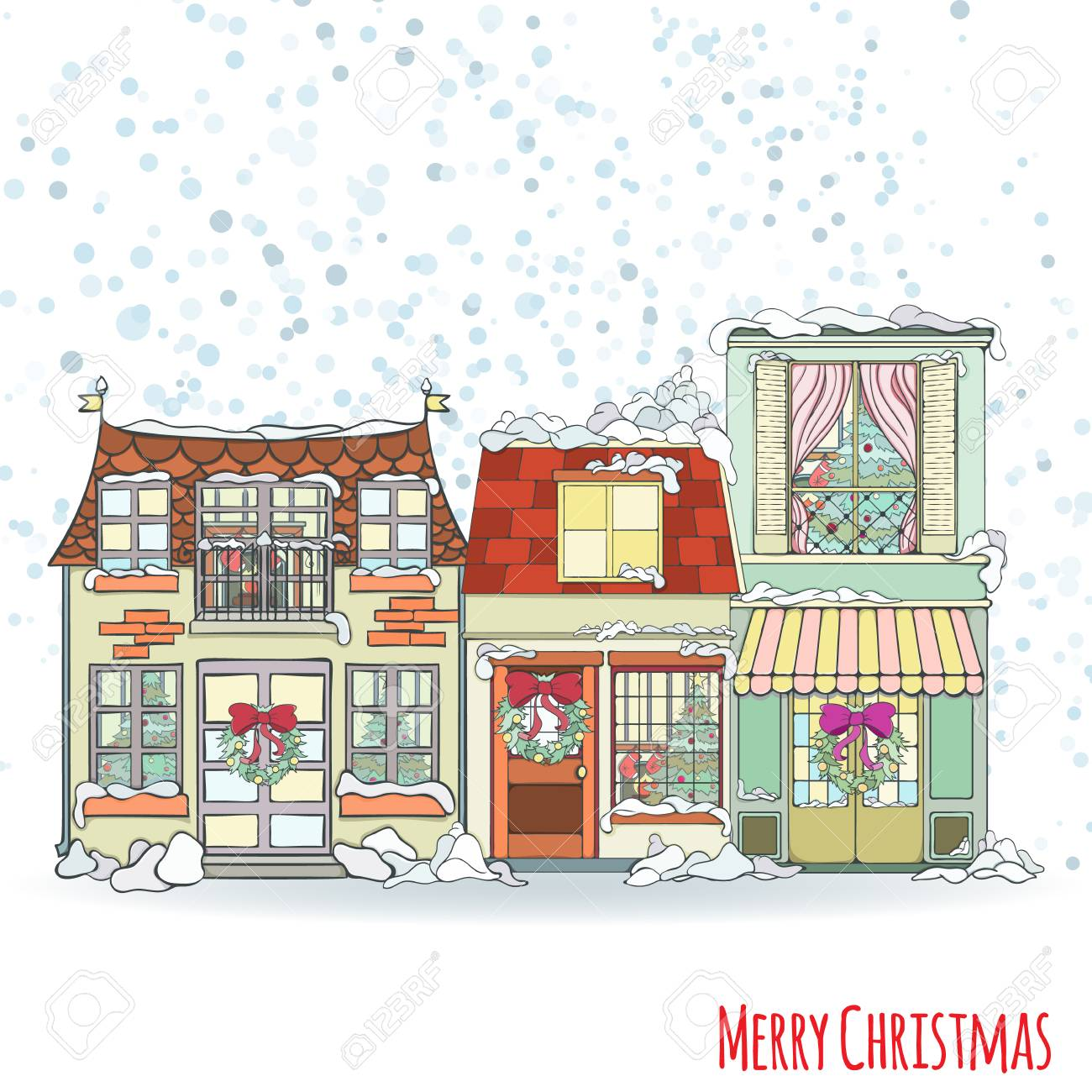 Christmas And New Year House Invitation Card Hand Drawn City